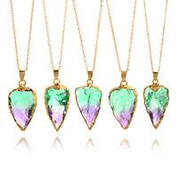 Arrow Crystal Quartz Pendant Colorful Raw Stone Filled Gemstone Necklace