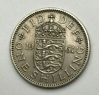 Dated : 1961 - One Shilling Coin - Queen Elizabeth II - Great Britain