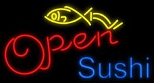 "New Sushi Open Seafood Bar artwork Real glass Neon Sign 32""x20"" Beer Lamp Light"