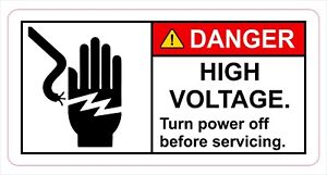Danger High Voltage Sticker Decal Label Electrical Safety Free Shipping