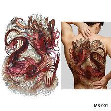 UK Large Red White Long Hair Dragon Full Back Temporary Tattoo sticker Body Art