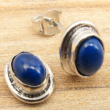 WOMEN'S LADIES' GIRLS' Stud Earrings, Beautiful LAPIS LAZULI Silver Plated GIFT