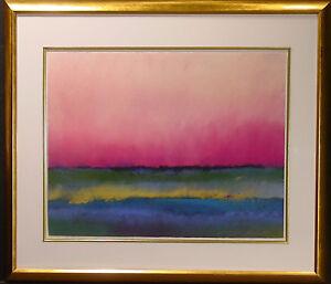 Mark Dickson Original Pastel Drawing, Purple Abstract Landscape MAKE AN OFFER!