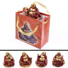 Bouddha dans un sac chinois rouge et or cadeau ornement religieux figure
