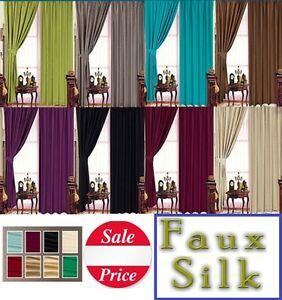FAUX SILK READY MADE LINED TAPE TOP PENCIL PLEAT CURTAINS + TIE BACKS