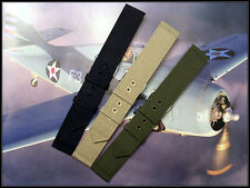 18mm Green Tan Canvas WWII 2pc nato Military watchband strap IW SUISSE 2 pak USA
