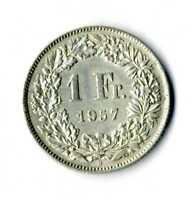 Moneda Suiza 1957 B 1 franco suizos plata .835 silver coin Helvetia