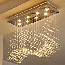 Modern Rectangle Crystal Chandelier Rain Drop Flush Mount Ceiling Light L31.5