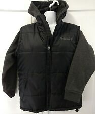 Timberland Jacket Fall Winter Coat Black Gray Quilted Vest Hoodie Unisex Size M