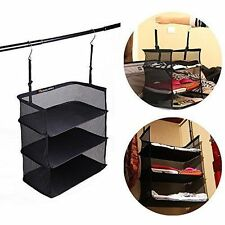 New Black 3 Tier Hanging Storage Clothing Organiser Tidy Paperwork Shelving.