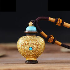 Tibetan Tibet Buddhist Copper Plating Ghau Prayer Box Vial Relics Amulet Pendant