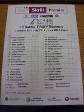 15/07/2014 Colour Teamsheet: FC Halifax Town v Rochdale [Friendly] (folded). Bob