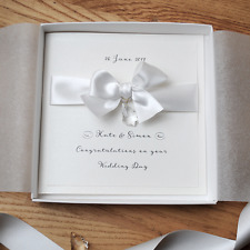 SWAROVSKI Luxury BOXED WEDDING CARD Congratulations Handmade Personalised