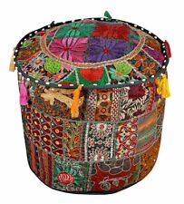 Indian Pouf Ottoman Multicolor Patchwork square Hassock Foot Stool Cover
