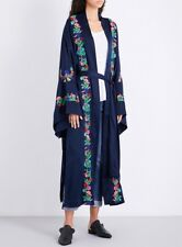 NEW $183 Free People Satin Floral Embroidered Kimono Robe Size Small