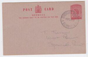 Bermuda EII 1960 1d postal stationary card SOMERSET BRIDGE cds postmark