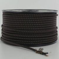 BLACK & BROWN ~ Vintage Parallel Flat ~ Fabric Lamp Wire ~ Cord ~ Price Per Foot