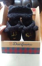 WOMENS DEARFOAM BLACK CATNAP SLIPPERS WITH EYE PAD   MEDIUM (7-8) NWT