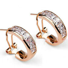 Rose gold finish clear cz half-hoop omega back earrings quality jewellery UK box