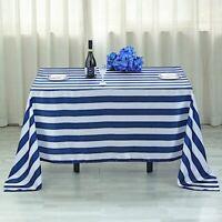 "NAVY BLUE WHITE 60x102"" Satin Stripes Rectangular Tablecloth Wedding Decorations"