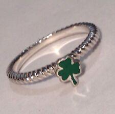 TARA'S DIARY Lucky Irish SHAMROCK Ireland Sterling Silver Enamel 925 Ring Size 9