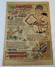 1947 Wheaties STAN MUSIAL cartoon ad page ~ St Louis Cardinals