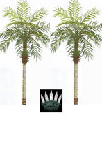 2 ARTIFICIAL 5' PHOENIX PALM TREE PLANT POOL PATIO WITH CHRISTMAS LIGHTS DECK