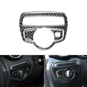 Carbon Fiber Inner Headlight Switch Frame Cover For Mercedes-Benz C Class W205