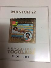 Munich Olympic Games 1972 Togo Gold Stamp perforated sheet RARE Swimming Spitz