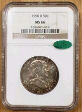 1958 D 50c Franklin Silver Half Dollar  NGC MS 66 CAC - (Toning)