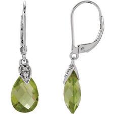 Genuine Peridot Briolette Gemstones Diamonds Leverback Earrings 14K. White Gold