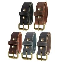 "Men's Genuine Buffalo Leather Belt, 1 1/2""_Amish Handmade, Antique Brass Buckle"