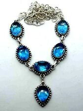 "Blue Topaz Silver Overlay Handmade Gemstone Necklace New 18"" Adjustable New Item"