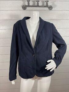 Talbots Aberdeen Knit Blazer One Button Navy Blue Women's Size 10