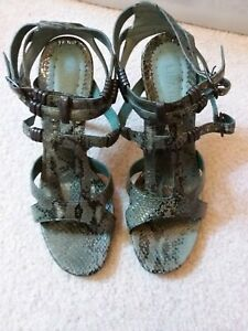 Womens shoes size 40 Lisa Ho Sandals Olive Python Green Animal Print