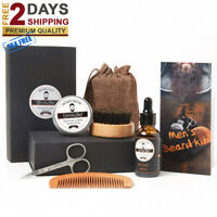 Beard Care Taming Kit Brush Comb Oil Facial Hair Growth Barber Men Grooming Set