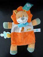 Y7- DOUDOU PLAT TEX BABY LION ORANGE JAUNE BLEU ELEPHANT FOULARD - NEUF