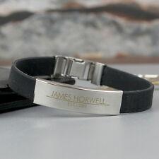 Personalised Engraved Mens Rubber & Steel Bracelet - Birthday Gift For Him