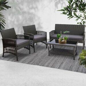 Gardeon Garden Furniture Outdoor Setting Rattan Chair Table Wicker Patio Grey