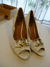 """TRIBECA 4"""" Heel Womens Shoes Size 8.5M White Patent Open Toe NEW"""