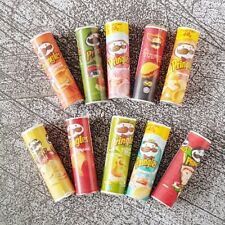 10 Pringles Packets Dollhouse Miniature Food Snacks Groceries Barbie Supply Deco