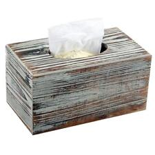 Tissue Box Cover Rustic Torched Wood Rectangle Decor Gift Home Office Gift New