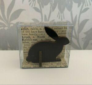 East of India Wooden Little BLACK RABBIT Easter Gift Décor