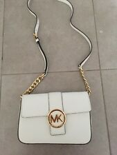 Micheal Kors Women's White Messenger With Gold Logo And Chain  Handbag