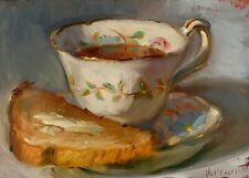 """Tea & Toast"" NOAH VERRIER Still life painting, Oil painting, Signed print"