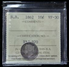 1862 NEW BRUNSWICK - 10 CENTS - .925 SILVER - Victoria - ICCS VF-EF Nice DETAILS