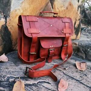 Handmade Vintage Leather Messenger Briefcase Laptop Portfolio Bag Men's Women's