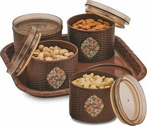 4 Pcs Plastic Air-Tight Dry Fruit Set Box with Lid & Serving Tray US