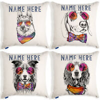 Personalised Funny Dog Portrait Cushion Cover Linen Artwork Birthday Home Gift