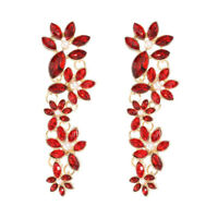 Long Beautiful Cascade Of Red Crystal Flowers With Pearls Earrings